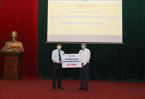 TCBC: Tập đoàn Điện lực Quốc gia Việt Nam ủng hộ 30 tỷ đồng cho Quỹ vắc-xin phòng chống COVID-19